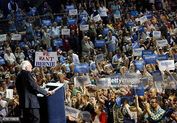 Vermont Sen Bernie Sanders speaks at the Cross Insurance Arena while campaigning in the Democratic presidential primary