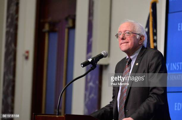 Vermont Senator and former Presidential candidate Bernie Sanders speaks at the Edward M Kennedy Institute for the United States Senate on 'The Future...