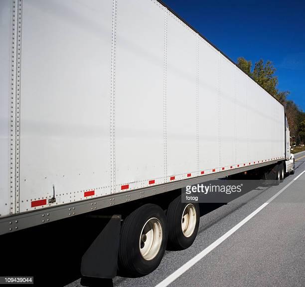USA, Vermont, white semi truck