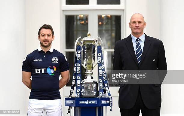 Vern Cotter Head Coach of Scotland and Greig Laidlaw Captain of Scotland pose with the Six Nations Trophy during the 2017 RBS Six Nations launch at...