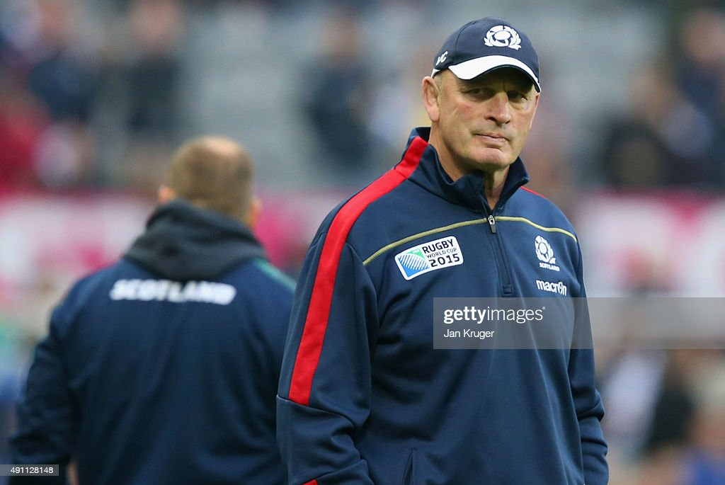 <a gi-track='captionPersonalityLinkClicked' href=/galleries/search?phrase=Vern+Cotter&family=editorial&specificpeople=611983 ng-click='$event.stopPropagation()'>Vern Cotter</a>, Head Coach of Scotland looks on during the 2015 Rugby World Cup Pool B match between South Africa and Scotland at St James' Park on October 3, 2015 in Newcastle upon Tyne, United Kingdom.