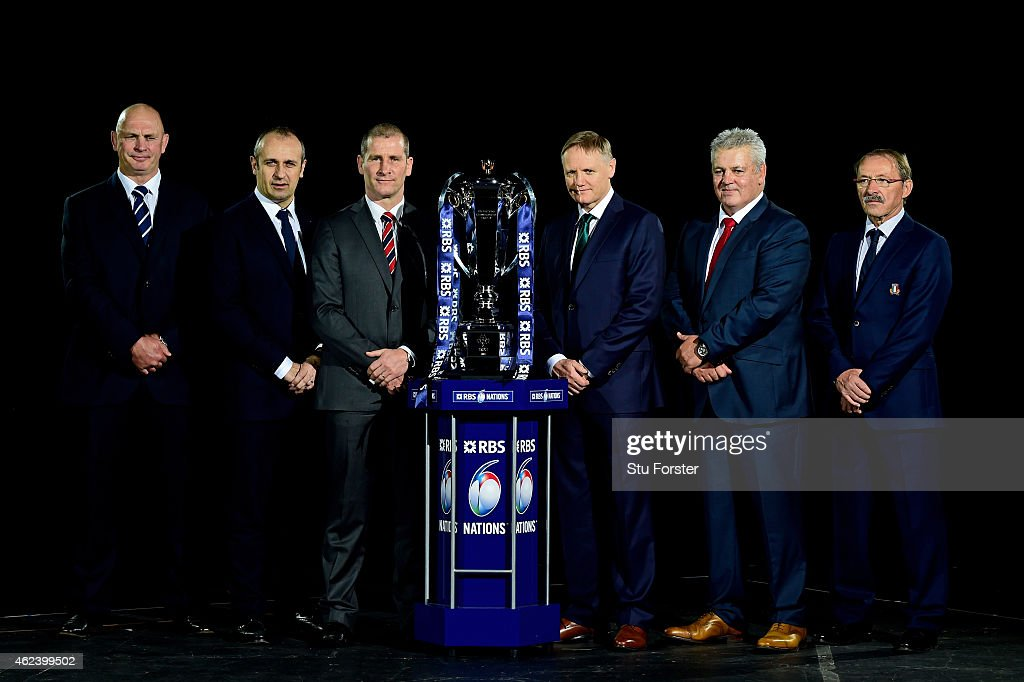 Vern Cotter the coach of Scotland, Philippe Saint Andre the coach of France, Stuart Lancaster the coach of England, Joe Schmidt the coach of Ireland, Warren Gatland the coach of France and Jacques Brunel the coach of Italy pose with the trophy during the launch of the 2015 RBS Six Nations at the Hurlingham club on January 28, 2015 in London, England.