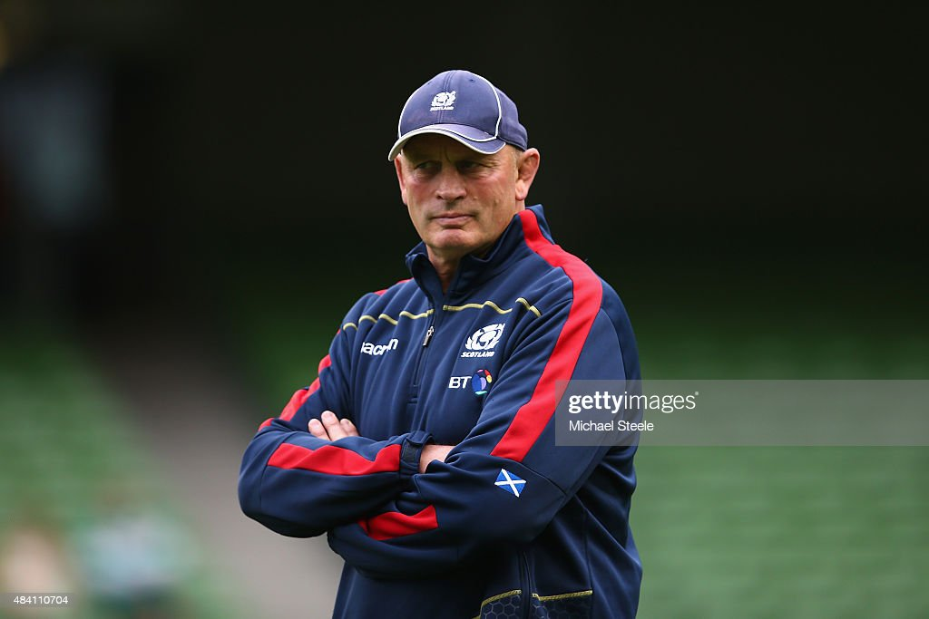 <a gi-track='captionPersonalityLinkClicked' href=/galleries/search?phrase=Vern+Cotter&family=editorial&specificpeople=611983 ng-click='$event.stopPropagation()'>Vern Cotter</a> the Head Coach of Scotland during the International match between Ireland and Scotland at the Aviva Stadium on August 15, 2015 in Dublin, Ireland.