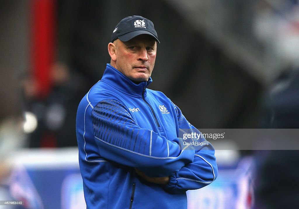 <a gi-track='captionPersonalityLinkClicked' href=/galleries/search?phrase=Vern+Cotter&family=editorial&specificpeople=611983 ng-click='$event.stopPropagation()'>Vern Cotter</a>, the Scotland head coach looks on during the RBS Six Nations match between France and Scotland at Stade de France on February 7, 2015 in Paris, France.