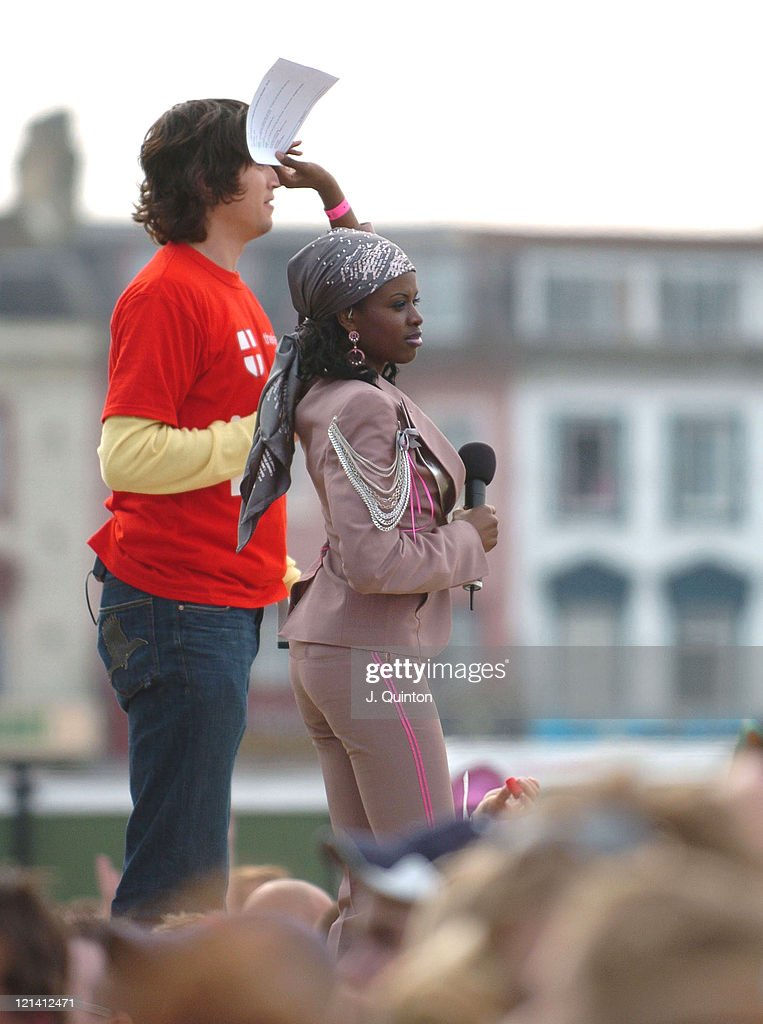 Vernan Kay and June Sarpong during T4 Pop Beach 2004 - Concert at Great Yarmouth Beach in Great Yarmouth, Great Britain.