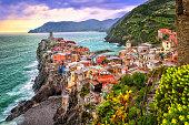 Vernazza in Cinque Terre, Liguria, Italy, on sunset