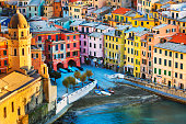 Vernazza village, church and buildings aerial view. Seascape in Five lands, Cinque Terre National Park, Liguria Italy Europe. Long Exposure.