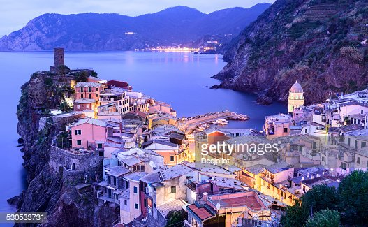 Vernazza Village in the Cinque Terre at Night Italy