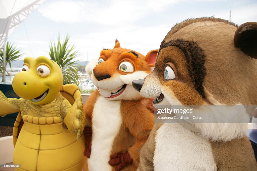 Verne the Turtle, Hammy the Squirrel, RJ the Racoon, at the photo call of 'Over the Hedge' during the 59th Cannes Film Festival.