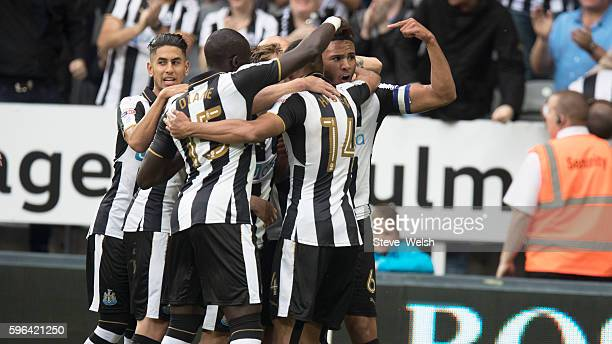 Vernon Anita of Newcastle celebrates his goal during the Premier League match between Newcastle United and Brighton Hove Albion on August 27 2016 in...