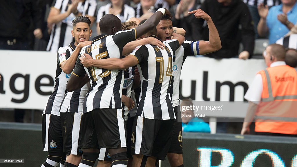 Vernon Anita of Newcastle celebrates his goal during the Premier League match between Newcastle United and Brighton & Hove Albion on August 27, 2016 in Newcastle.