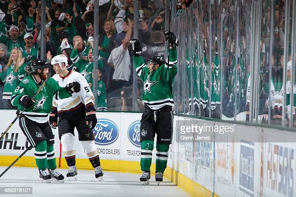 Vernon Fiddler and Jordie Benn of the Dallas Stars celebrate a goal against the Anaheim Ducks in Game Four of the First Round of the 2014 Stanley Cup...