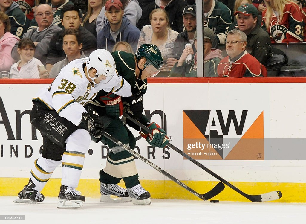 <a gi-track='captionPersonalityLinkClicked' href=/galleries/search?phrase=Vernon+Fiddler&family=editorial&specificpeople=208086 ng-click='$event.stopPropagation()'>Vernon Fiddler</a> #38 of the Dallas Stars attempts to get the puck away from <a gi-track='captionPersonalityLinkClicked' href=/galleries/search?phrase=Mikko+Koivu&family=editorial&specificpeople=584987 ng-click='$event.stopPropagation()'>Mikko Koivu</a> #9 of the Minnesota Wild during the third period of the game on January 20, 2013 at Xcel Energy Center in St Paul, Minnesota. The Wild defeated the Stars 1-0.