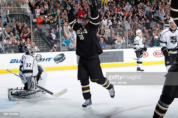 Vernon Fiddler of the Dallas Stars celebrates a goal against Jonathan Quick of the Los Angeles Kings at the American Airlines Center on April 9 2013...