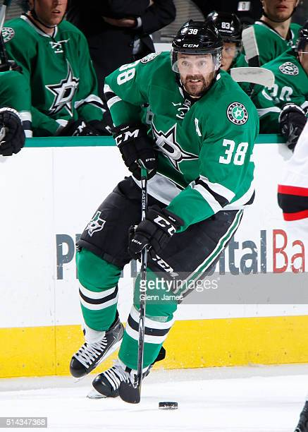 Vernon Fiddler of the Dallas Stars handles the puck against the New Jersey Devils at the American Airlines Center on March 4 2016 in Dallas Texas