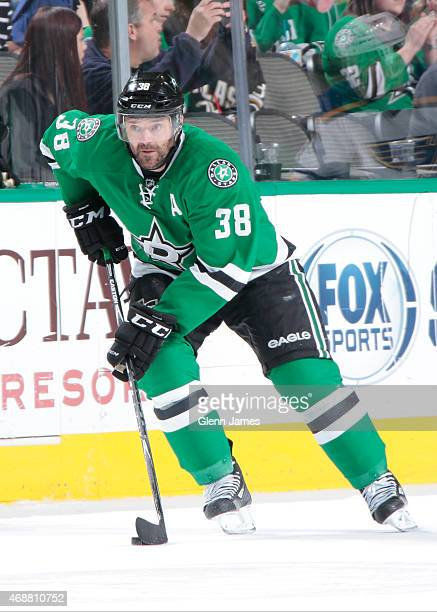 Vernon Fiddler of the Dallas Stars handles the puck against the St Louis Blues at the American Airlines Center on April 3 2015 in Dallas Texas