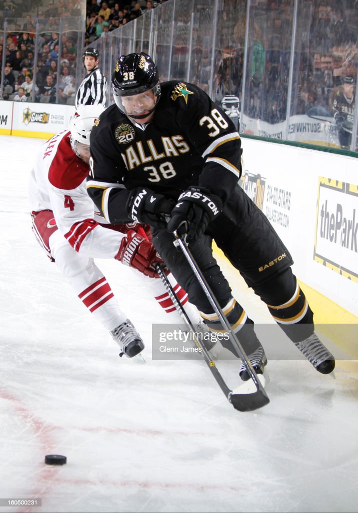 <a gi-track='captionPersonalityLinkClicked' href=/galleries/search?phrase=Vernon+Fiddler&family=editorial&specificpeople=208086 ng-click='$event.stopPropagation()'>Vernon Fiddler</a> #38 of the Dallas Stars skates with the puck trailed by Zbynek Michalek #4 of the Phoenix Coyotes at the American Airlines Center on February 1, 2013 in Dallas, Texas.