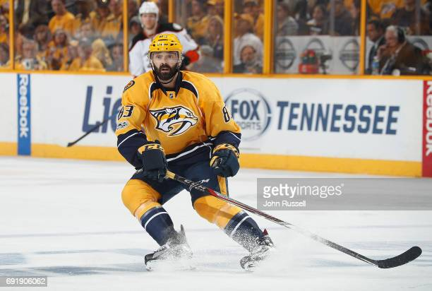 Vernon Fiddler of the Nashville Predators skates against the Anaheim Ducks in Game Six of the Western Conference Final during the 2017 NHL Stanley...