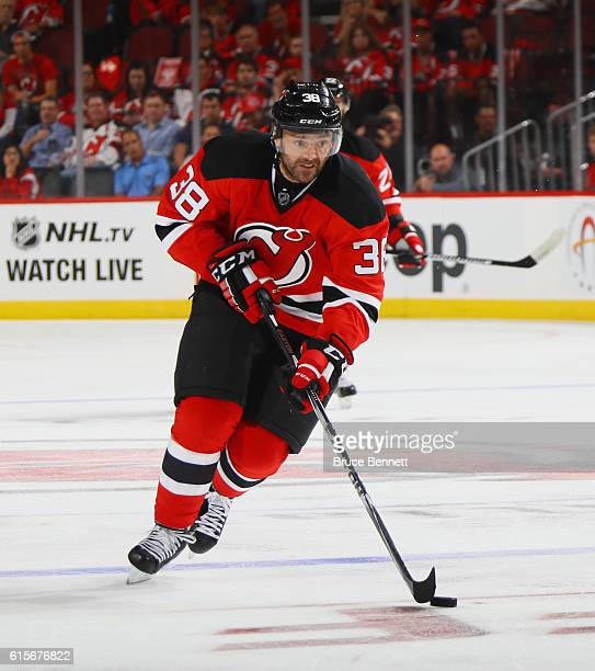 Vernon Fiddler of the New Jersey Devils skates against the Anaheim Ducks at the Prudential Center on October 18 2016 in Newark New Jersey