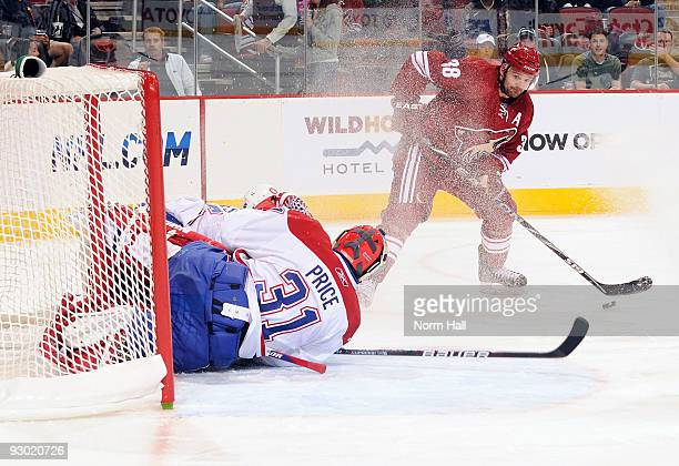 Vernon Fiddler of the Phoenix Coyotes fires a shot at Carey Price of the Montreal Canadiens on November 12 2009 at Jobingcom Arena in Glendale Arizona