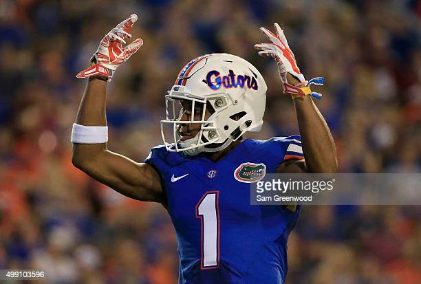 Vernon Hargreaves III of the Florida Gators asks the crowd for noise during the game against the Florida State Seminoles at Ben Hill Griffin Stadium...