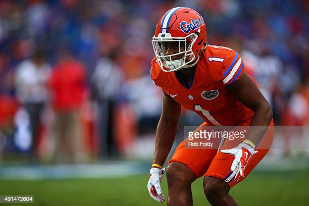 Vernon Hargreaves III of the Florida Gators in action before the game against the Mississippi Rebels on October 3 2015 in Gainesville Florida