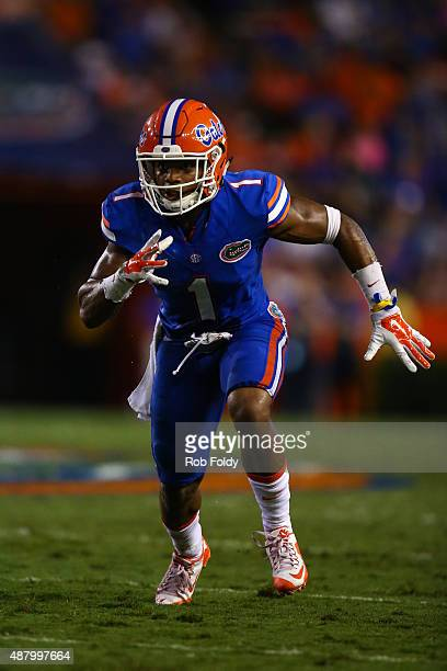 Vernon Hargreaves III of the Florida Gators in action during the game against the New Mexico State Aggies at Ben Hill Griffin Stadium on September 5...
