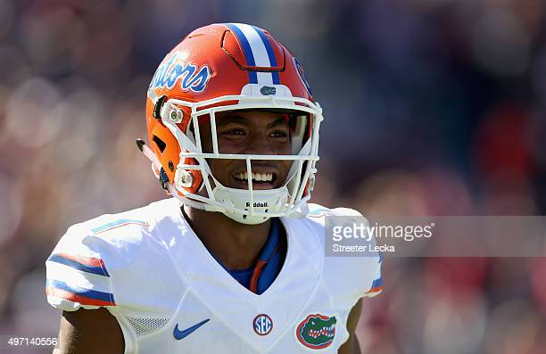 Vernon Hargreaves III of the Florida Gators reacts as he runs off the field during their game against the South Carolina Gamecocks at WilliamsBrice...