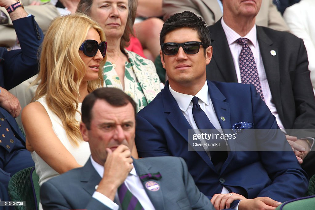 <a gi-track='captionPersonalityLinkClicked' href=/galleries/search?phrase=Vernon+Kay&family=editorial&specificpeople=211386 ng-click='$event.stopPropagation()'>Vernon Kay</a> and Tess Daly watch on during the Ladies Singles first round match between Serena Williams of The United States and Amra Sadikovic of Switzerland on day two of the Wimbledon Lawn Tennis Championships at the All England Lawn Tennis and Croquet Club on June 28, 2016 in London, England.