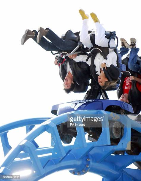 Vernon Kay rides on the 'Infusion' rollercoaster the brand new addition to Blackpool's 'Pleasure Beach' during it's official launch today