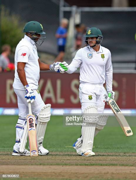 Vernon Philander and Quinton de Kock of South Africa batting during day two of the Test match between New Zealand and South Africa at Seddon Park on...
