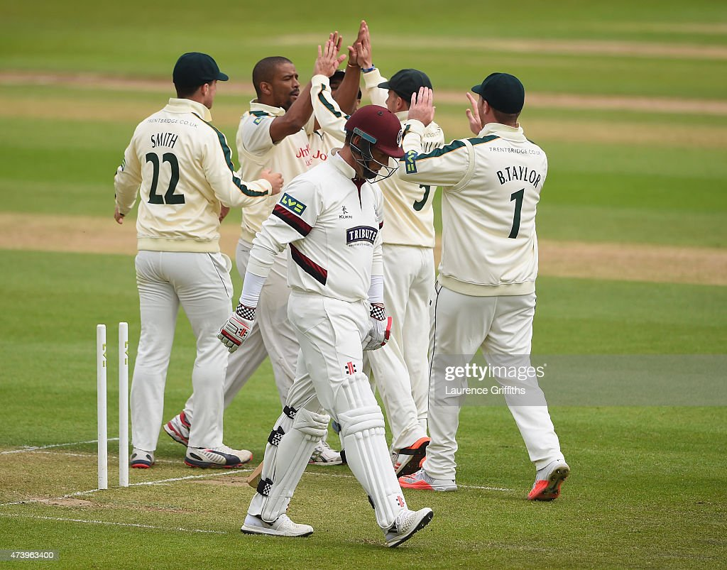 <a gi-track='captionPersonalityLinkClicked' href=/galleries/search?phrase=Vernon+Philander&family=editorial&specificpeople=4353155 ng-click='$event.stopPropagation()'>Vernon Philander</a> of Nottinghamshire is congratulated on taking the wicket of <a gi-track='captionPersonalityLinkClicked' href=/galleries/search?phrase=Marcus+Trescothick&family=editorial&specificpeople=171643 ng-click='$event.stopPropagation()'>Marcus Trescothick</a> of Somerset during the LV County Championship match between Nottinghamshire and Somerset at Trent Bridge on May 19, 2015 in Nottingham, England.