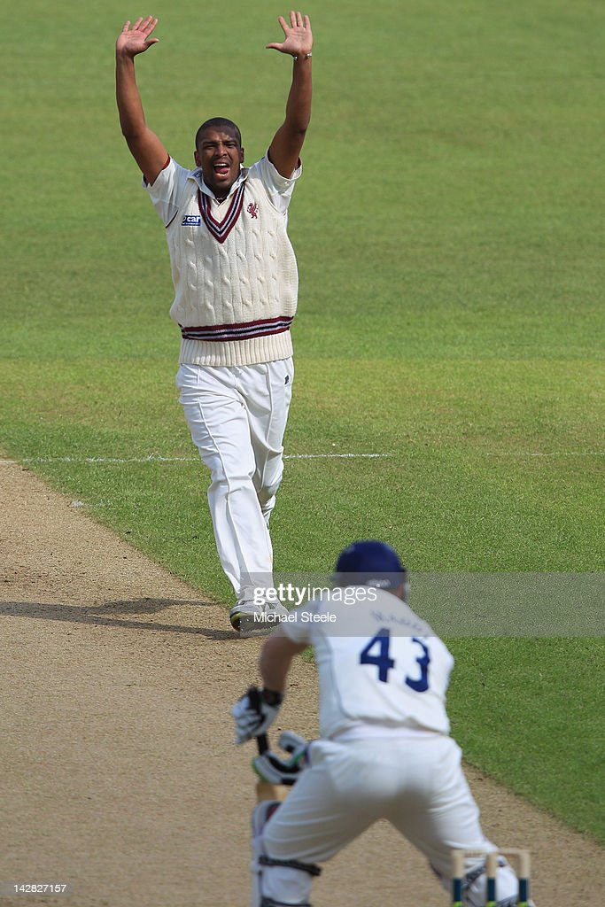 <a gi-track='captionPersonalityLinkClicked' href=/galleries/search?phrase=Vernon+Philander&family=editorial&specificpeople=4353155 ng-click='$event.stopPropagation()'>Vernon Philander</a> of Somerset celebrates trapping Darren Maddy lbw during day two of the LV County Championship division one match between Warwickshire and Somerset at Edgbaston on April 13, 2012 in Birmingham, England.