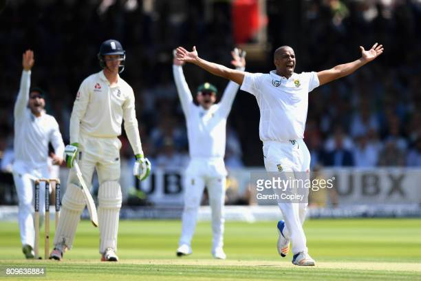 Vernon Philander of South Africa appeals for the wicket of Keaton Jennings of England during day one of the 1st Investec Test match between England...