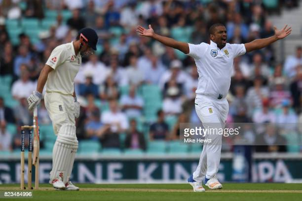 Vernon Philander of South Africa appeals unsuccesfully for lbw against Alastair Cook of England during Day One of the 3rd Investec Test between...
