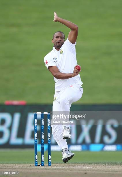 Vernon Philander of South Africa bowls during day three of the Test match between New Zealand and South Africa at Seddon Park on March 27 2017 in...