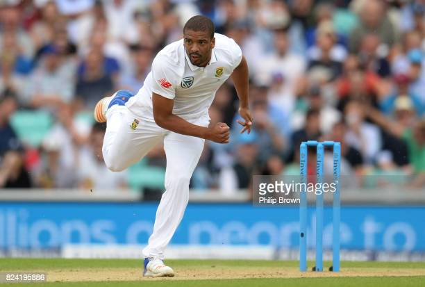 Vernon Philander of South Africa bowls during the third day of the 3rd Investec Test match between England and South Africa at the Kia Oval on July...