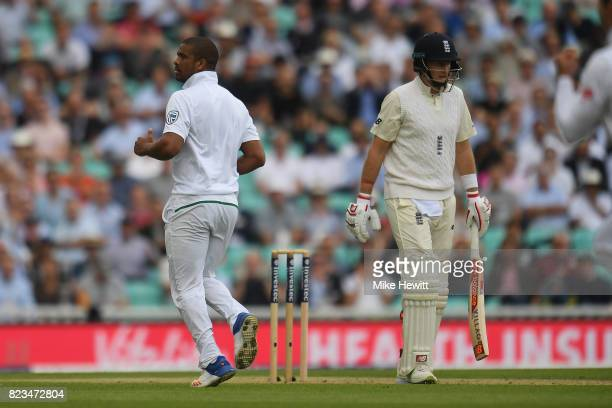 Vernon Philander of South Africa celebrates after dismissing Joe Root of England during Day One of the 3rd Investec Test between England and South...