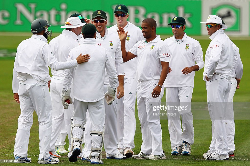 <a gi-track='captionPersonalityLinkClicked' href=/galleries/search?phrase=Vernon+Philander&family=editorial&specificpeople=4353155 ng-click='$event.stopPropagation()'>Vernon Philander</a> of South Africa celebrates the wicket of Rob Nicol of New Zealand during day one of the First Test match between New Zealand and South Africa at Seddon Park on March 15, 2012 in Hamilton, New Zealand.