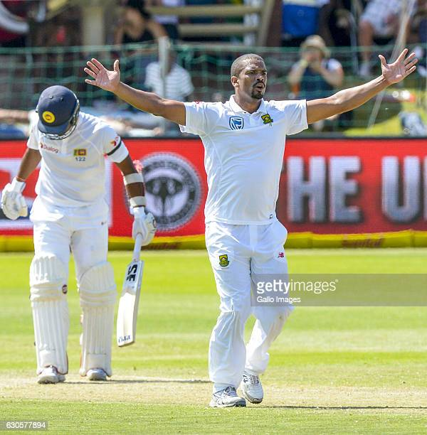 Vernon Philander of South Africa during day 2 of the 1st Test match between South Africa and Sri Lanka at St George's Park on December 27 2016 in...