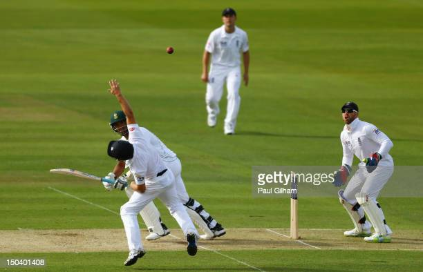 Vernon Philander of South Africa hits out during day one of the 3rd Investec test match between England and South Africa at Lord's Cricket Ground on...