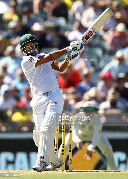 Vernon Philander of South Africa is bowled by Mitchell Starc of Australia during day one of the First Test match between Australia and South Africa...