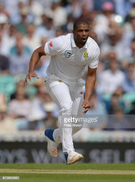 Vernon Philander of South Africa reacts during the second day of the 3rd Investec Test match between England and South Africa at the Kia Oval on July...