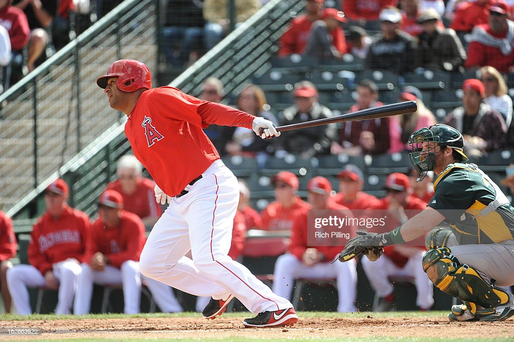 <a gi-track='captionPersonalityLinkClicked' href=/galleries/search?phrase=Vernon+Wells&family=editorial&specificpeople=212943 ng-click='$event.stopPropagation()'>Vernon Wells</a> #10 of the Los Angeles Angels of Anaheim bats during the game against the Oakland Athletics on February 24, 2013 at Tempe Diablo Stadium in Tempe, Arizona. The Athletics defeated the Angels 7-5.