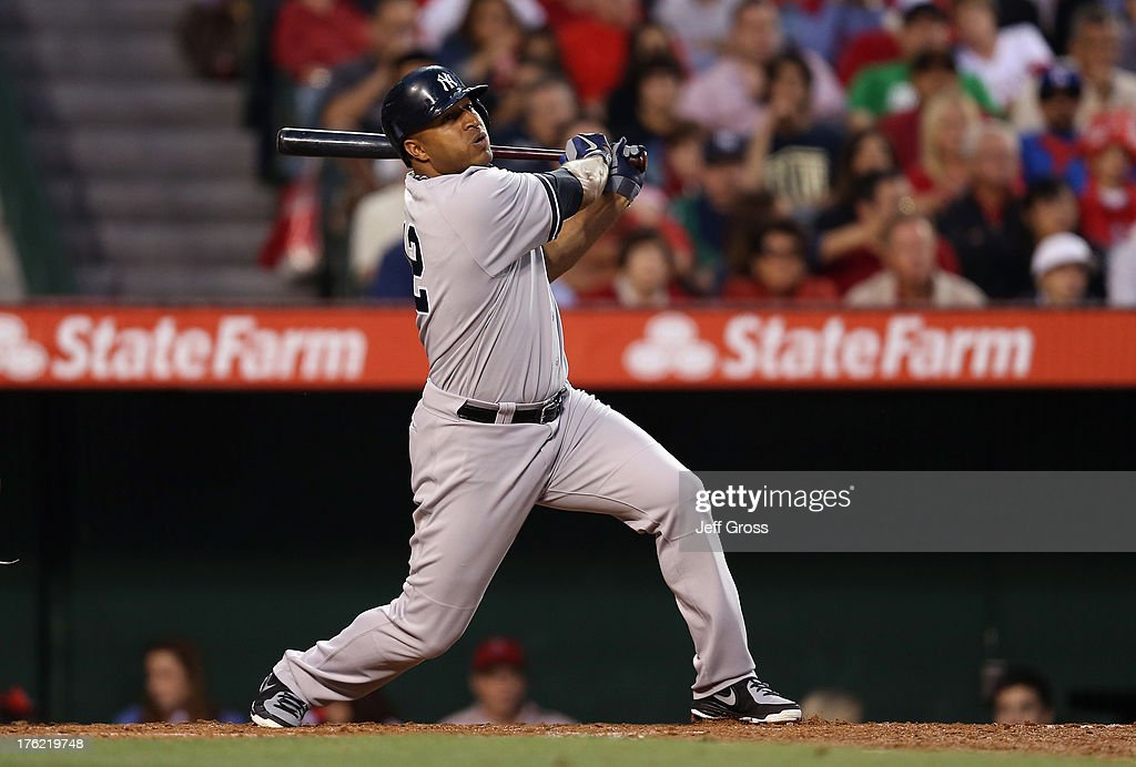 Vernon Wells of the New York Yankees bats against the Los Angeles Angels of Anaheim at Angel Stadium of Anaheim on June 14 2013 in Anaheim California
