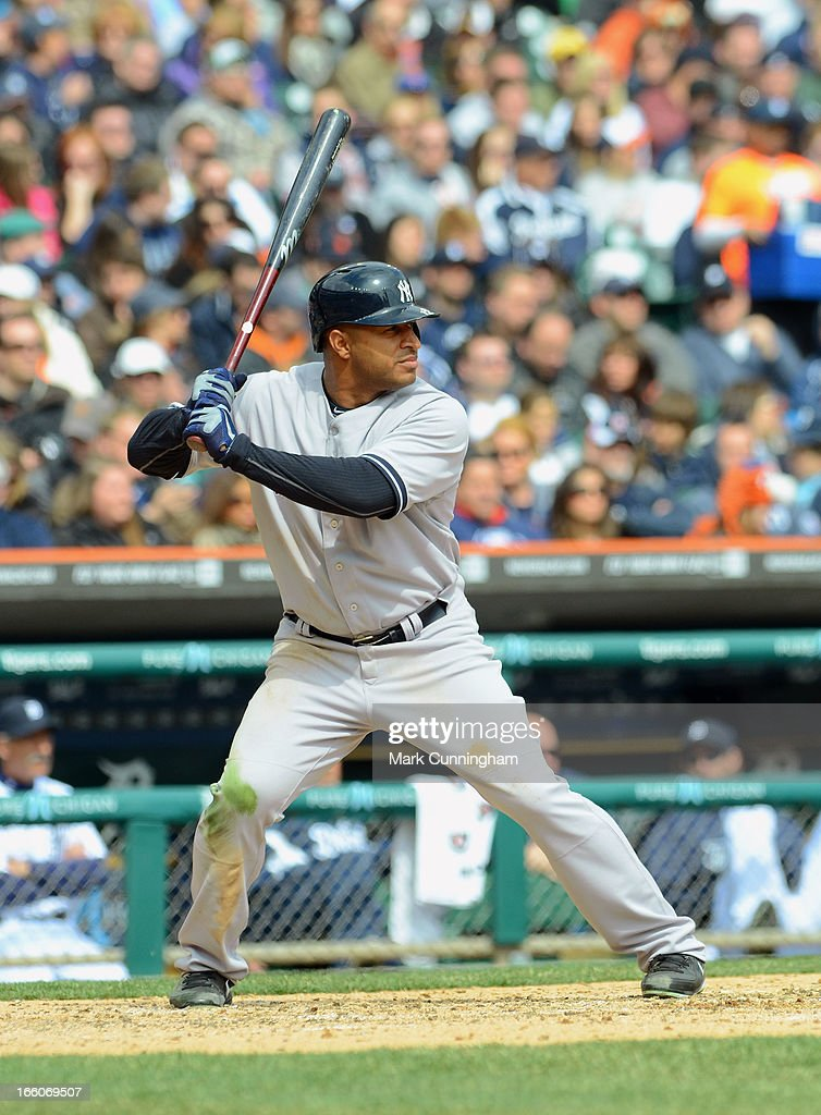 Vernon Wells #12 of the New York Yankees bats during the game against the Detroit Tigers at Comerica Park on April 7, 2013 in Detroit, Michigan. The Yankees defeated the Tigers 7-0.