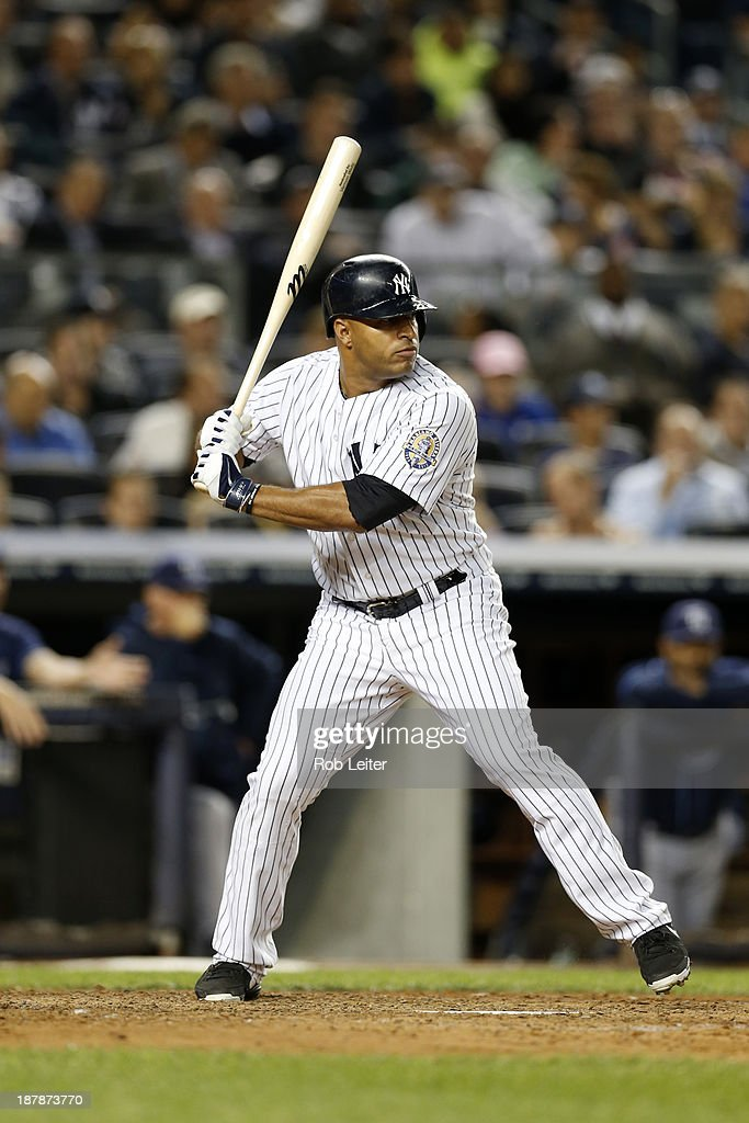 Vernon Wells of the New York Yankees bats during the game against the Tampa Bay Rays at Yankee Stadium on September 24 2013 in New York New York The...