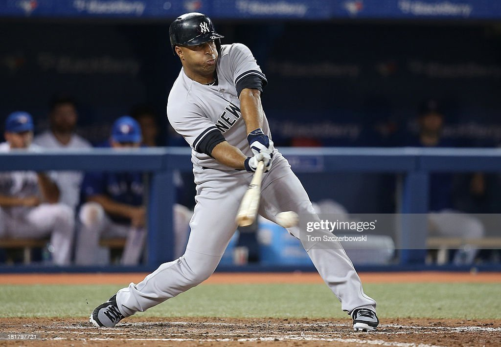 Vernon Wells of the New York Yankees bats in the eighth inning during MLB game action against the Toronto Blue Jays on September 17 2013 at Rogers...
