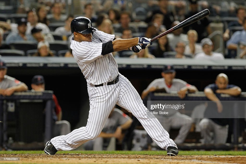 Vernon Wells of the New York Yankees in action against the Boston Red Sox at Yankee Stadium on June 2 2013 in the Bronx borough of New York City Red...