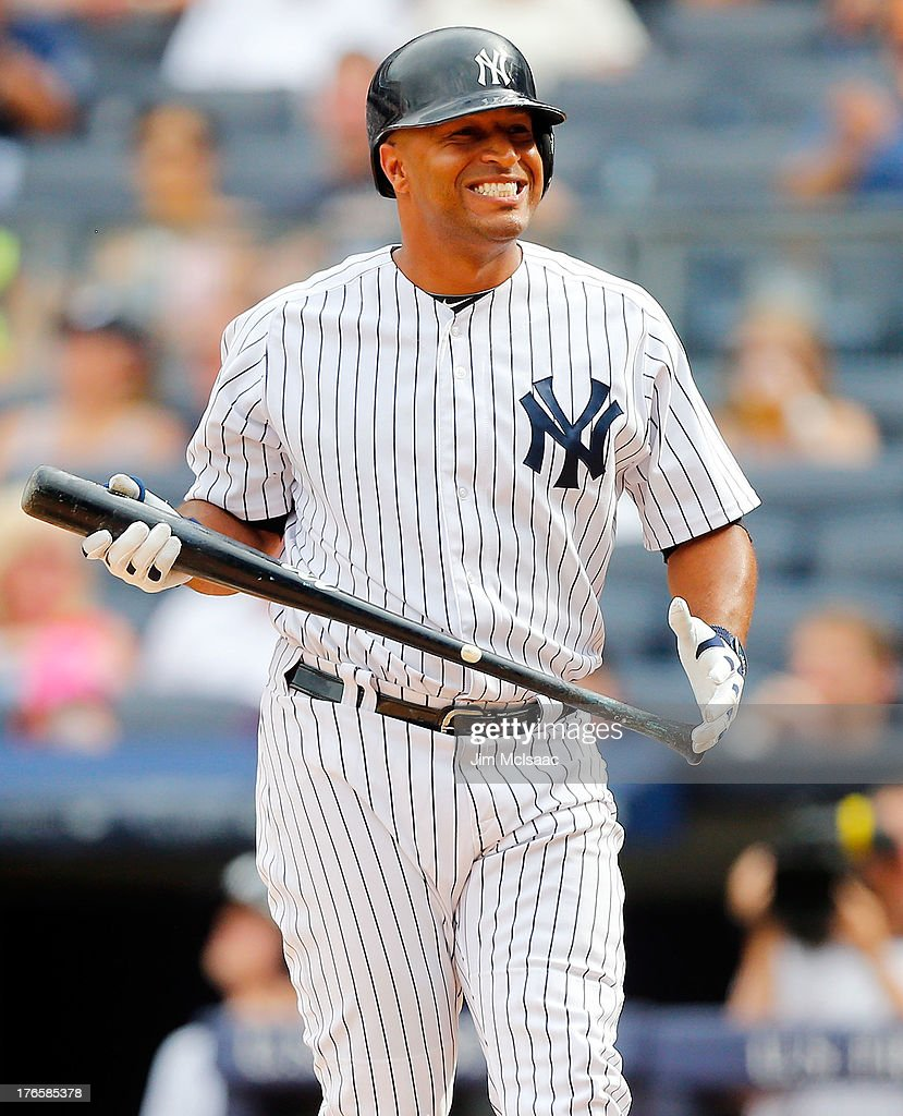 Vernon Wells of the New York Yankees in action against the Detroit Tigers at Yankee Stadium on August 11 2013 in the Bronx borough of New York City...
